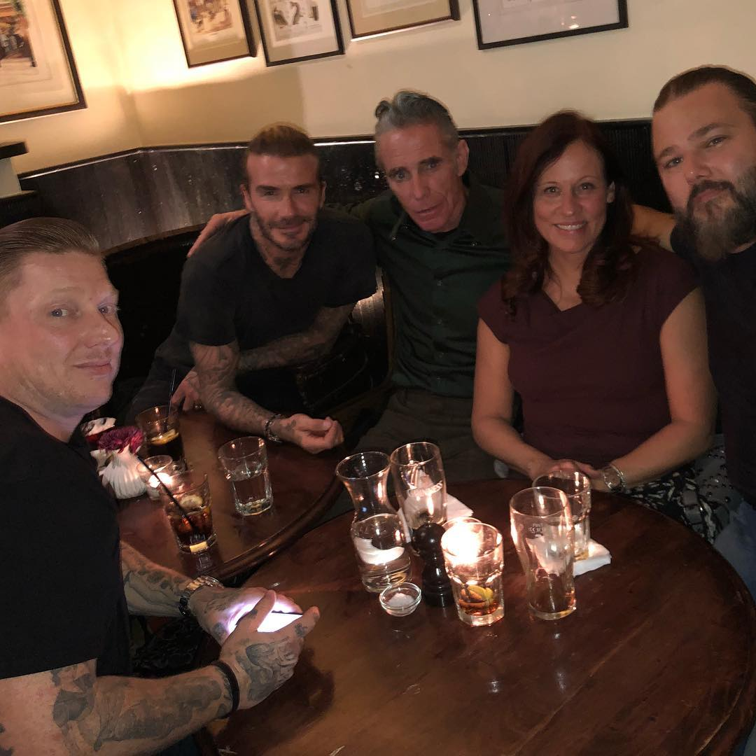 David Beckham Instagram: Bangers & Mash with the guys from LA ... Great dinner with Mark & Nicole Mahoney...
