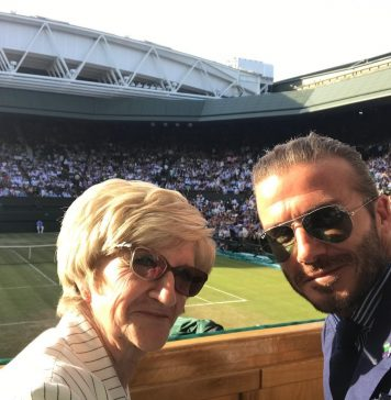David Beckham Instagram: Lovely day at Wimbledon yesterday with mum... Beautiful weather and 3 great game...