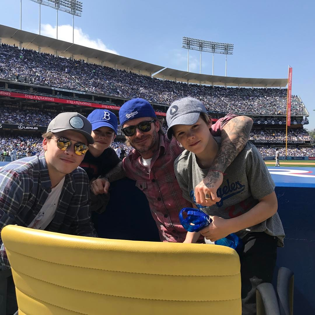 David Beckham Instagram: Opening day at the Dodgers baby  ...