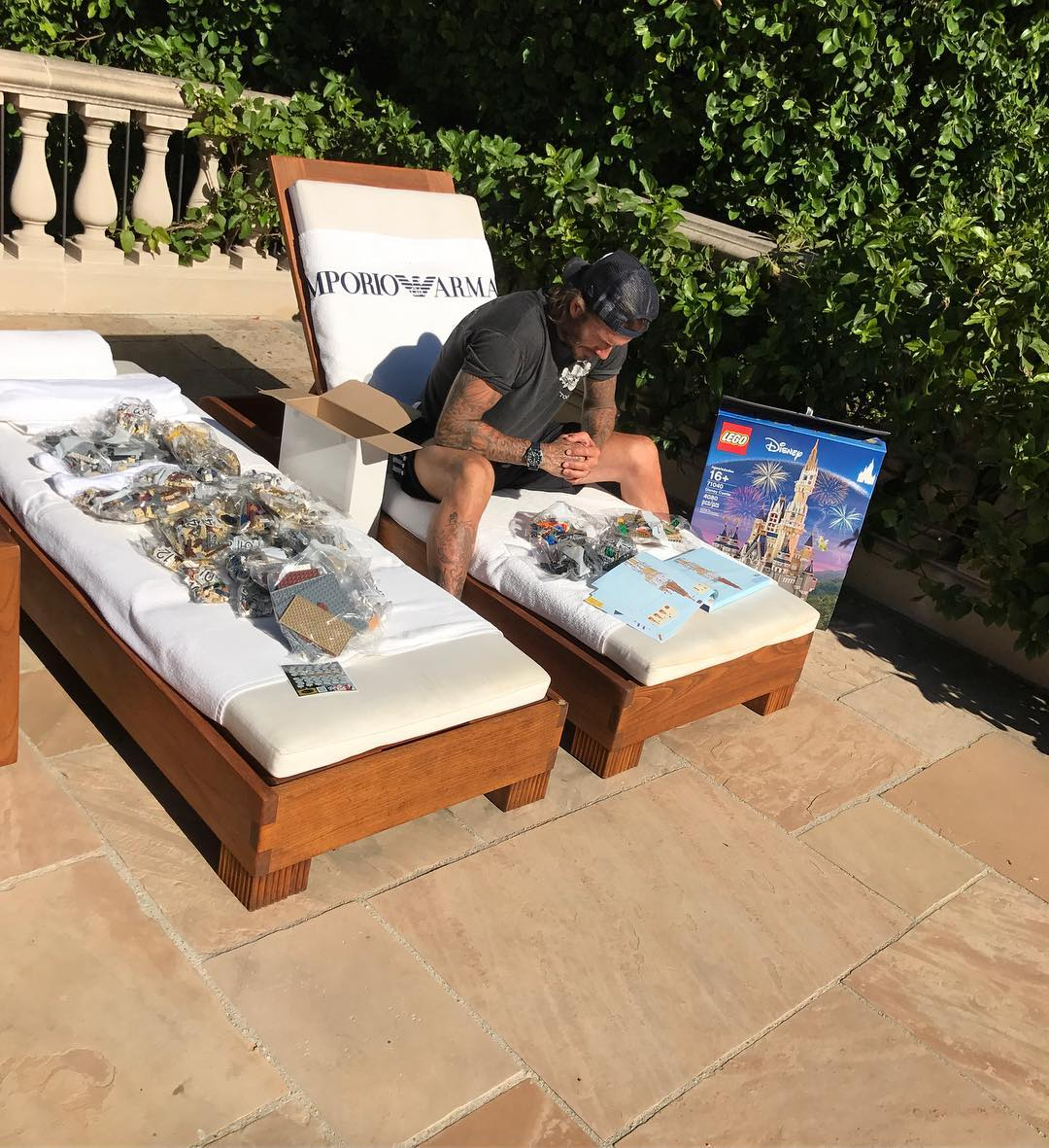 David Beckham Instagram: Page 1 of the Disney castle , 4000 pieces 490 pages of instructions I look confu...