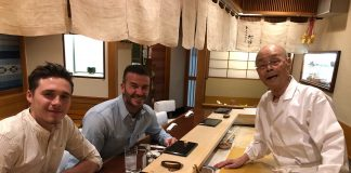 David Beckham Instagram: Two meals I will never forget with my big boy. From the old school of Master Jir...