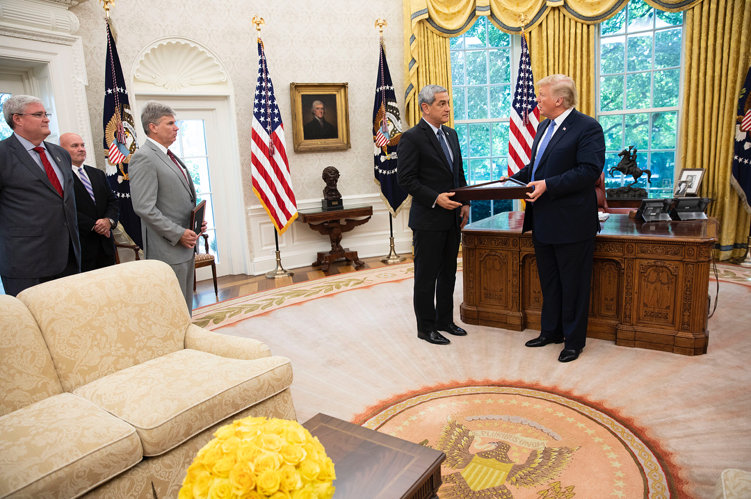 Donald J. Trump Instagram: Today, President Trump was presented with a U.S. flag by Kelly McKeague, Direct...