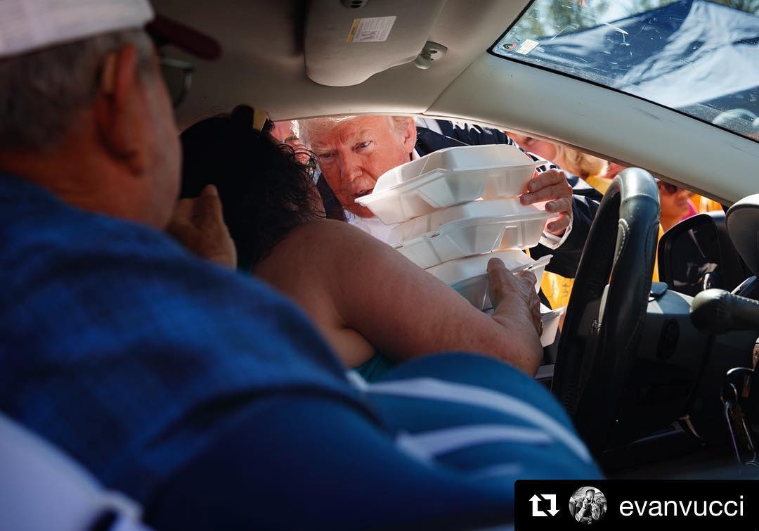 Donald J. Trump Instagram:   ・・・   hands out meals outside Temple Baptist Church in  ...