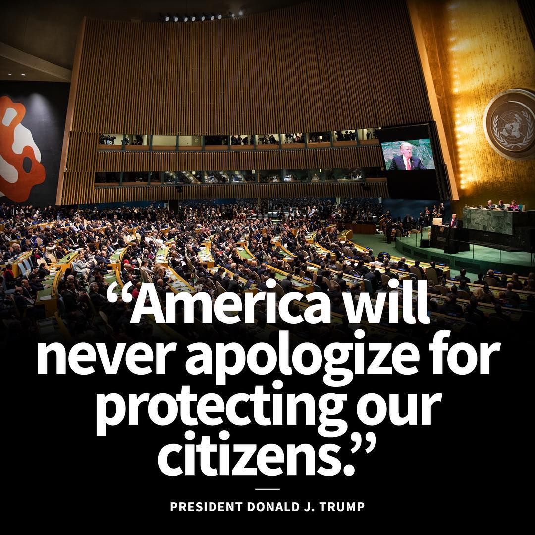 Donald J. Trump Instagram: America will never apologize for protecting our citizens. ...