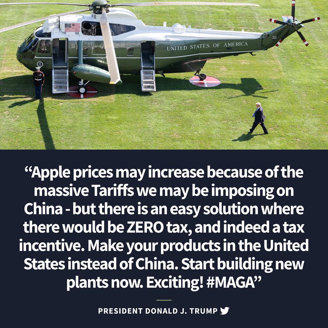 Donald J. Trump Instagram: Apple prices may increase because of the massive Tariffs we may be imposing on C...