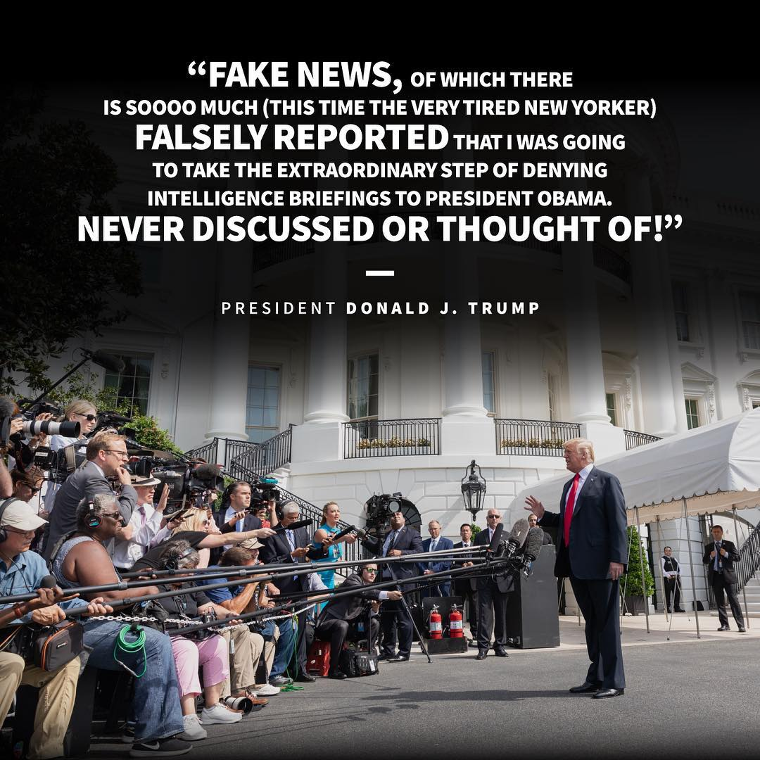 Donald J. Trump Instagram: Fake News, of which there is soooo much (this time the very tired New Yorker) fa...