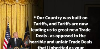 Donald J. Trump Instagram: Our Country was built on Tariffs, and Tariffs are now leading us to great new Tr...