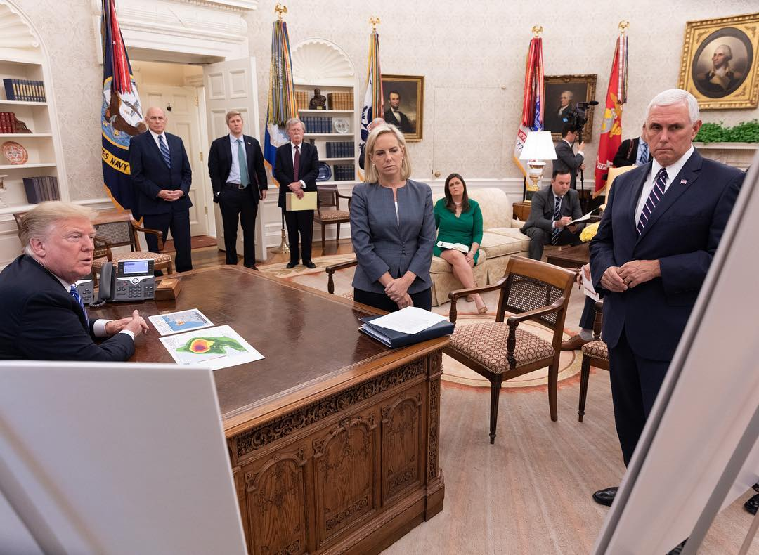 Donald J. Trump Instagram: President Trump receives an emergency preparedness briefing  on Hurricane Floren...