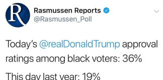 Today's  approval ratings among black voters: 36%  This day last year: 19%  bit....