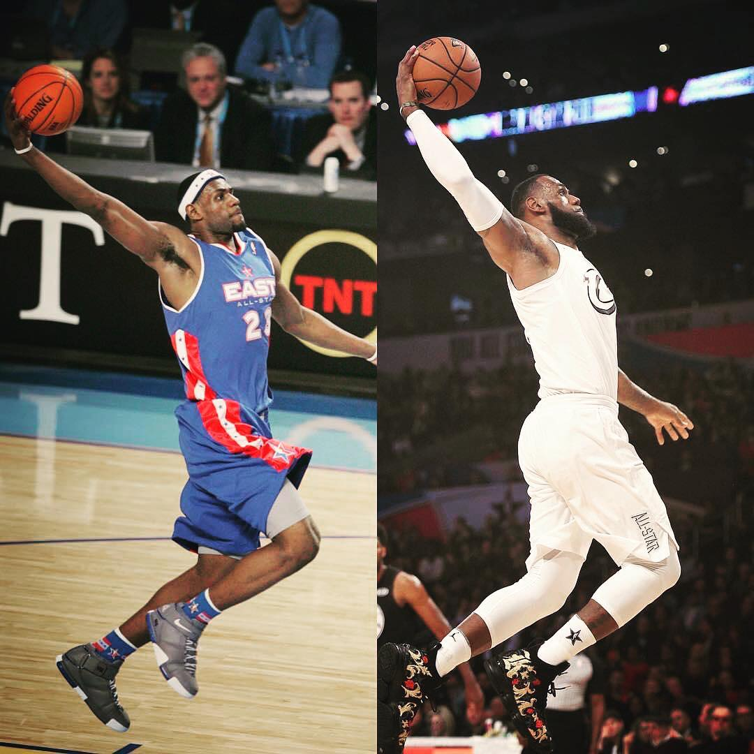 422a7872dbd5 LeBron James Instagram  First All-Star start in Denver(left) to last ...