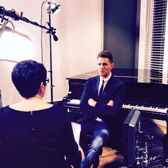 Michael Bublé Instagram: At my house doing my first press interview for Asia !! Flying to Shanghai tomorr...