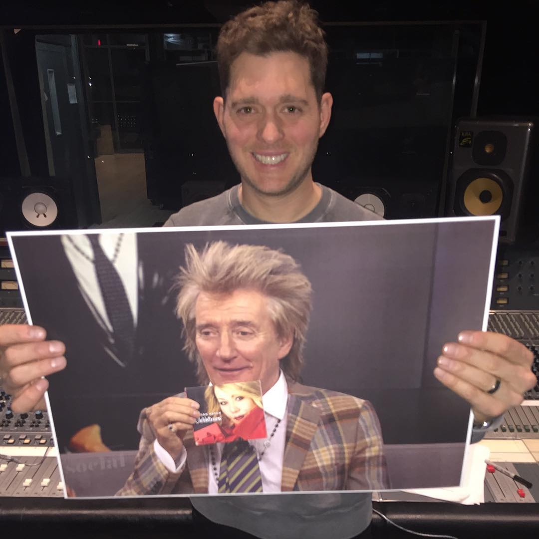 Michael Bublé Instagram: This is a photo of me holding a photo of Rod Stewart holding a copy of  's great...