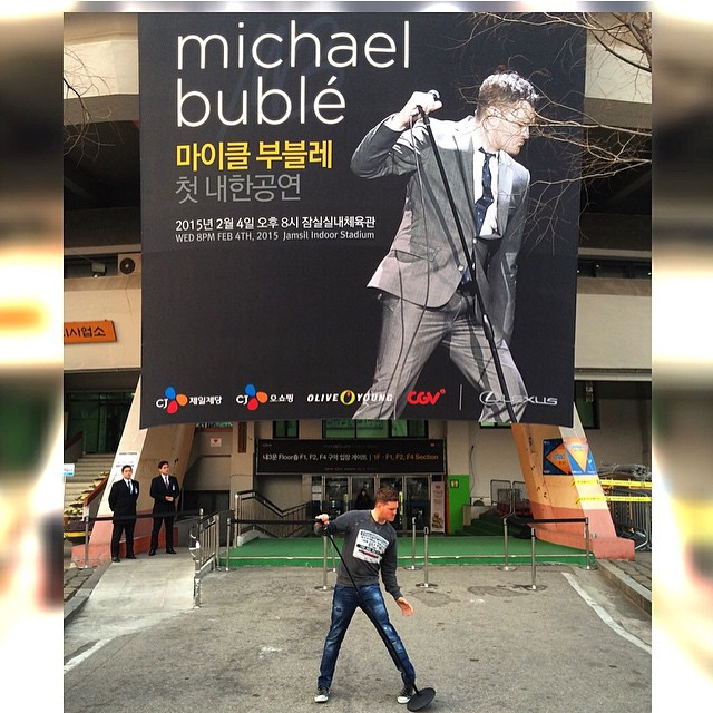 Michael Bublé Instagram: You only get so many chances to pose in front of a 90 foot poster, you're posing...