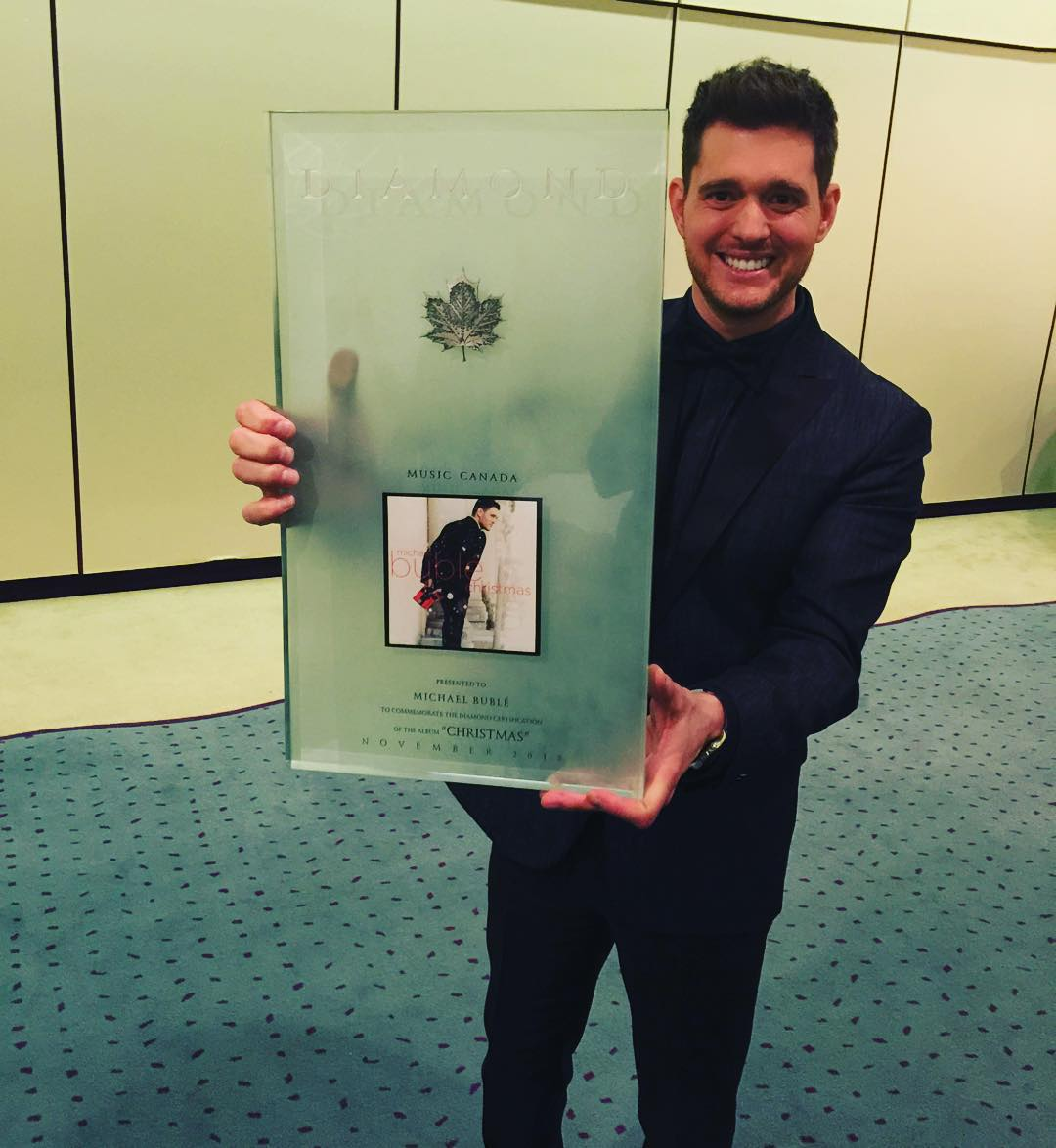 Michael Bublé Instagram: thanks to  my family from Warner Canada for presenting me with this incredible d...