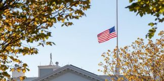 ・・・ The American flag is flying at half-staff above the White House as our Nat...