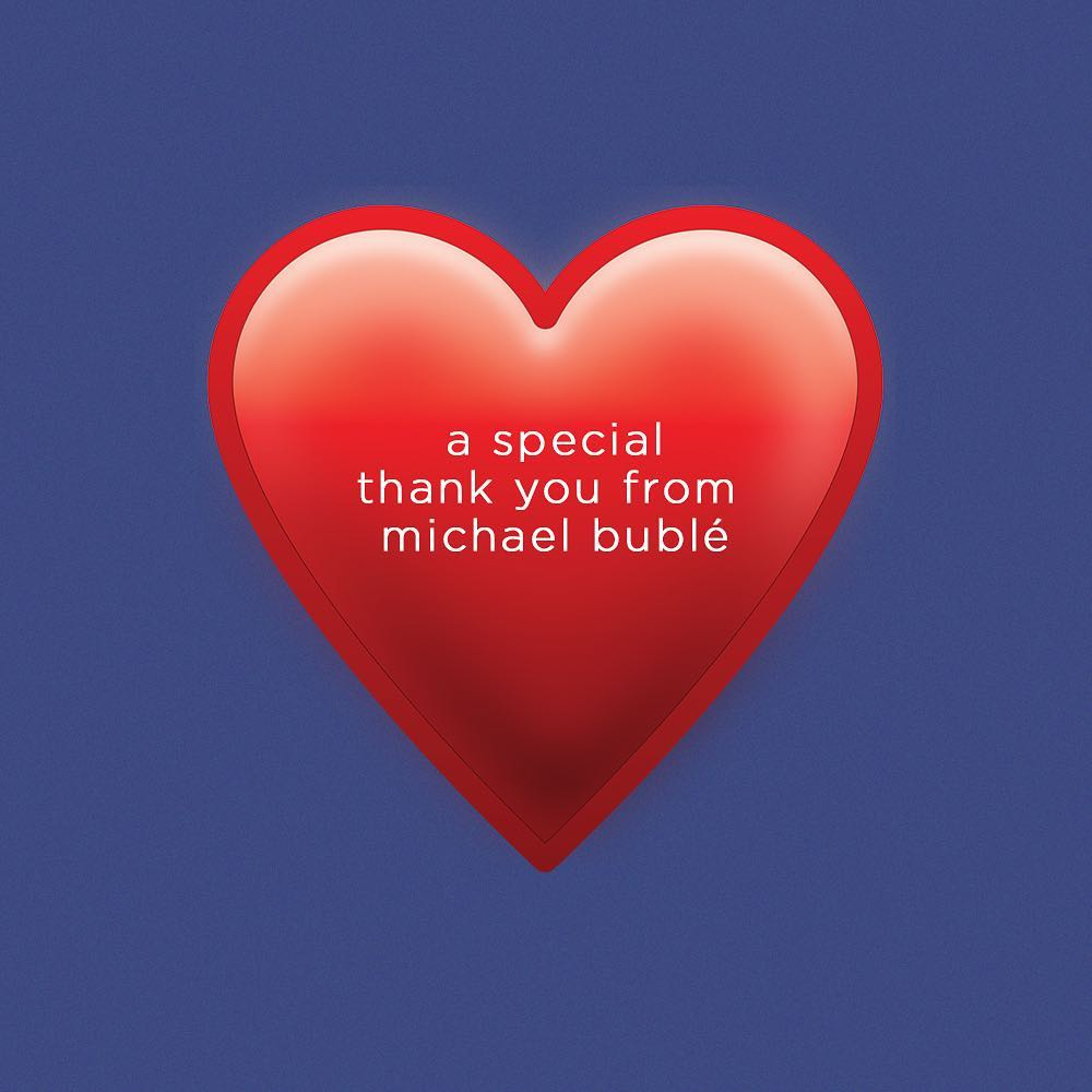 Michael Bublé Instagram: In the spirit of the holidays, Michael would like to send a personal thank you t...
