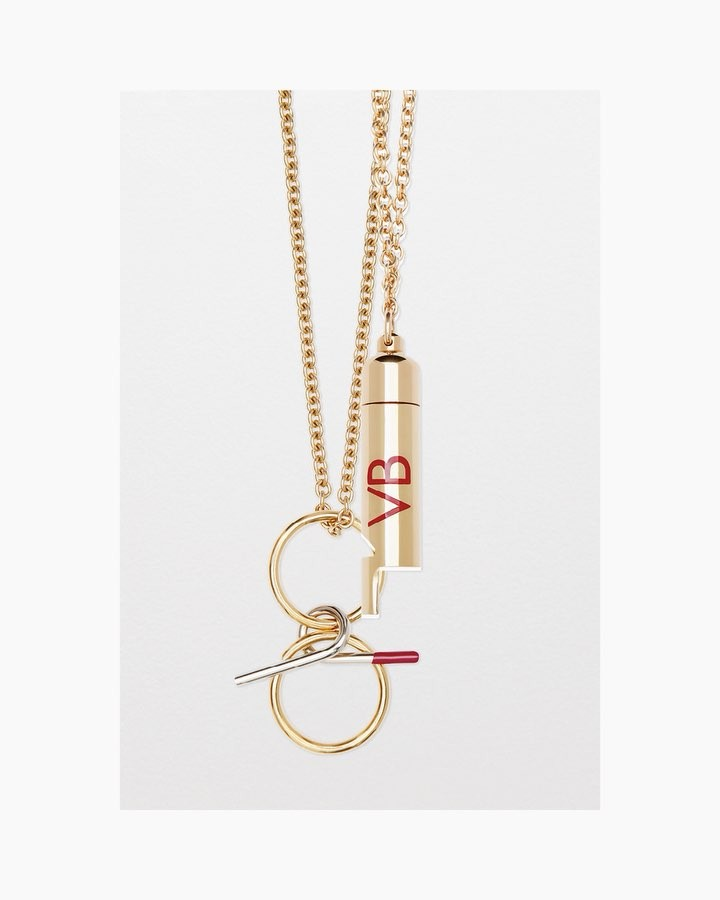 Victoria Beckham Instagram: Long necklaces, linked gold bracelets and double drape bands are exclusively emb...