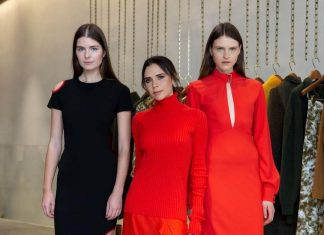 Victoria Beckham Instagram: So many chic holiday looks for this festive season! Vibrant red knits, midi skir...