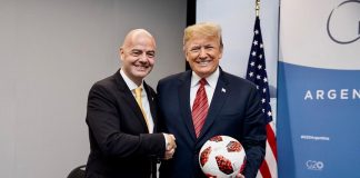 Donald J. Trump Instagram: President Donald J. Trump is presented with a soccer ball during his meeting wit...