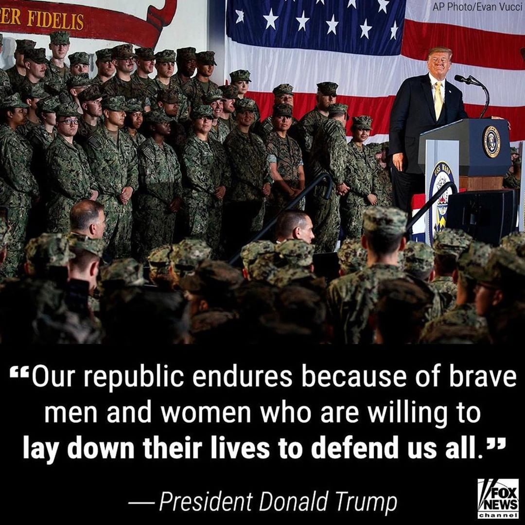 Donald J. Trump Instagram:   ・・・ In a Memorial Day address, President Donald J. Trump thanked the troops ab...