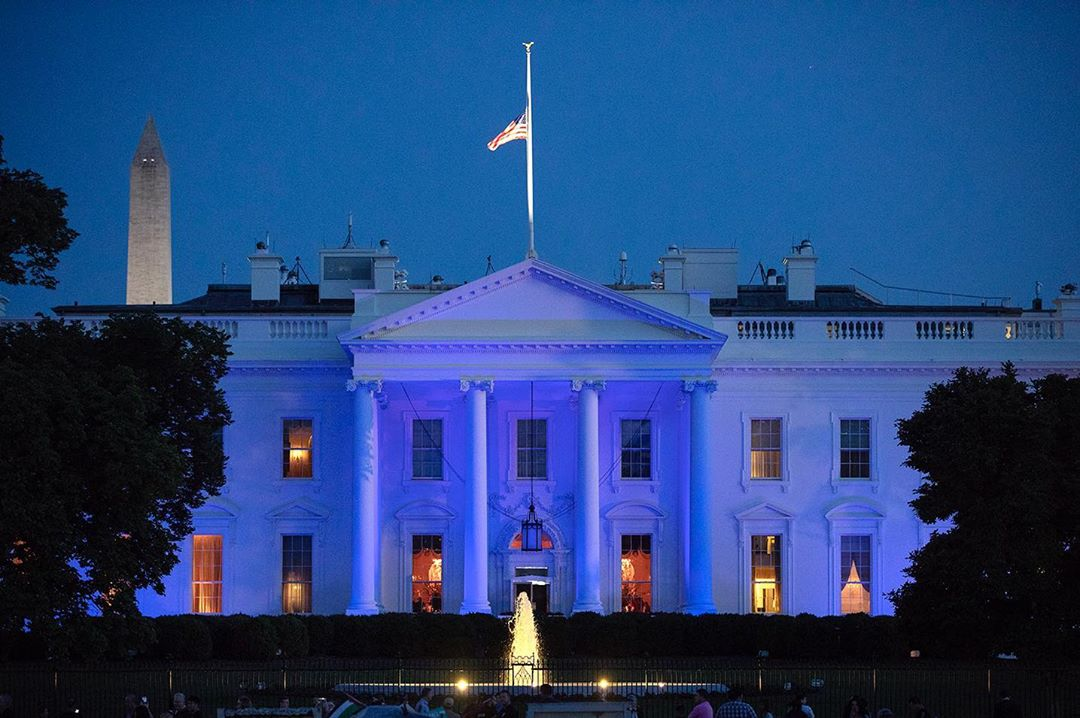 Donald J. Trump Instagram:   ・・・ Tonight, the White House was lit in blue in honor of Peace Officers Memori...
