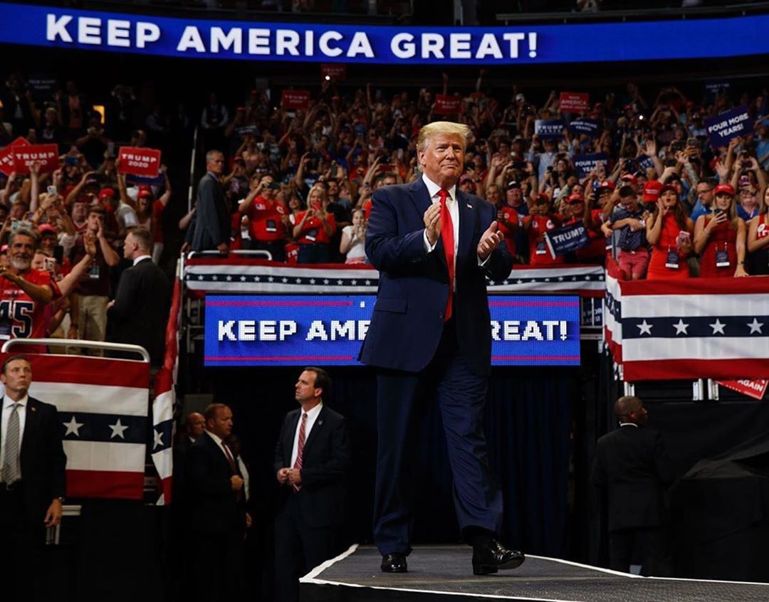 Donald J. Trump Instagram: KEEP AMERICA GREAT!     ・・・   arrives to speak at his re-election kickoff rally ...