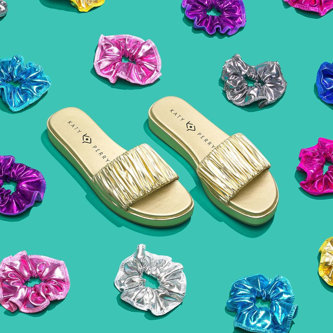 Katy Perry Instagram:  Heatwave?  Tie it back with these Scrunchie-inspired slides  ...