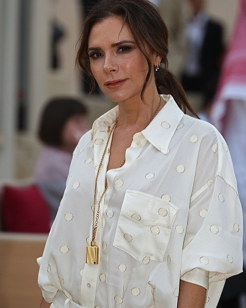 Victoria Beckham Instagram: Perfect for Doha nights, my  pyjama suit. X VB...