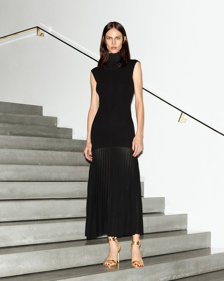 Victoria Beckham Instagram: Sophisticated and simple, my  cap sleeve pleated midi dress is modest, yet elega...