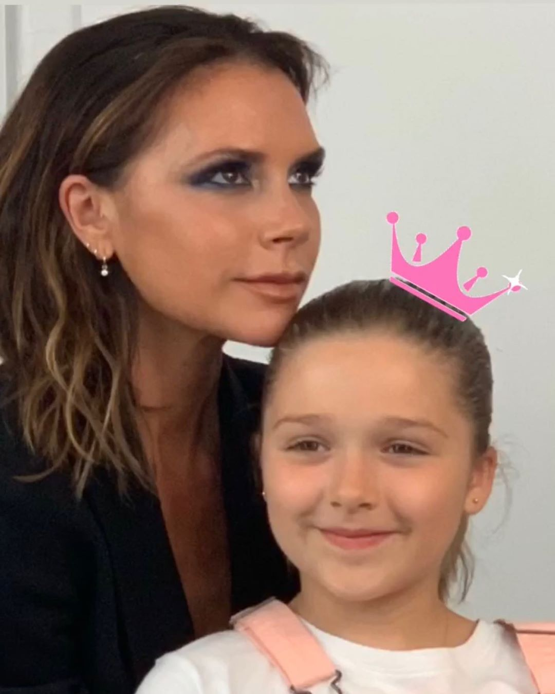Victoria Beckham Instagram: Today I had a little guest on set! Shooting  with mummy kisses x VB...