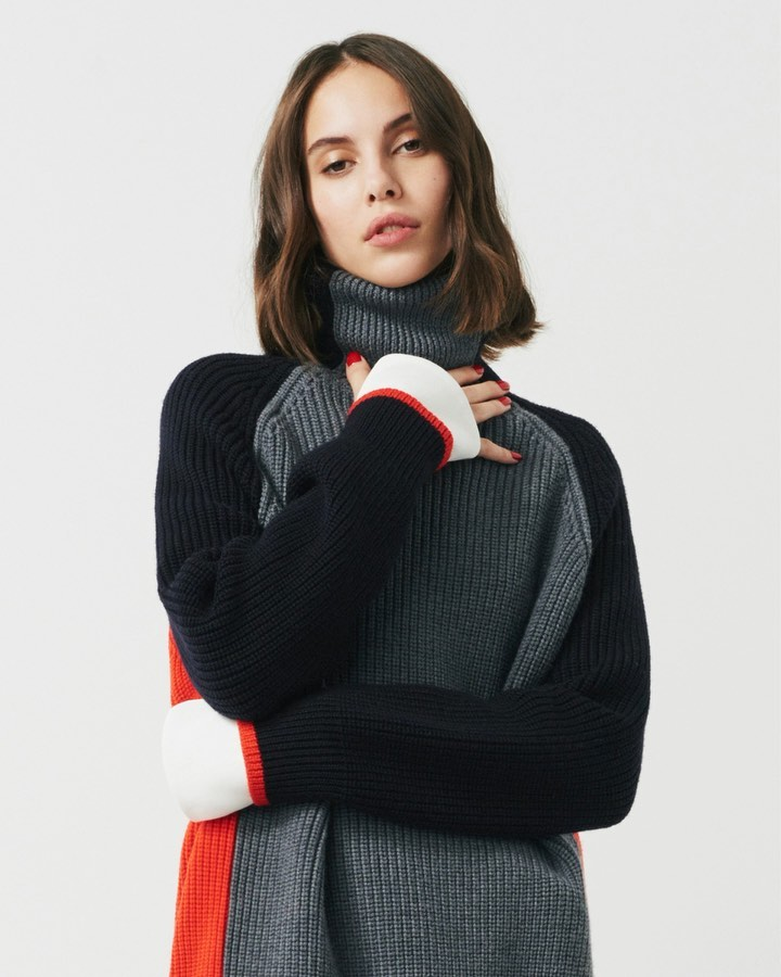 Victoria Beckham Instagram: My  chunky knits provide a cozy foil for skirts and trousers. x VB...