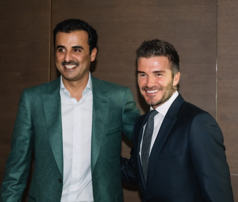 David Beckham Instagram: Honoured to be welcomed by His Highness Tamim bin Hamad Al Thani at the Parc des...