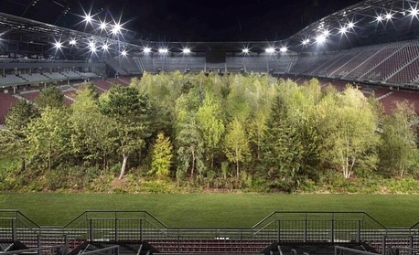 Leonardo DiCaprio Instagram:    Wörthersee Football Stadium in Austria has been transformed into a lush fores...