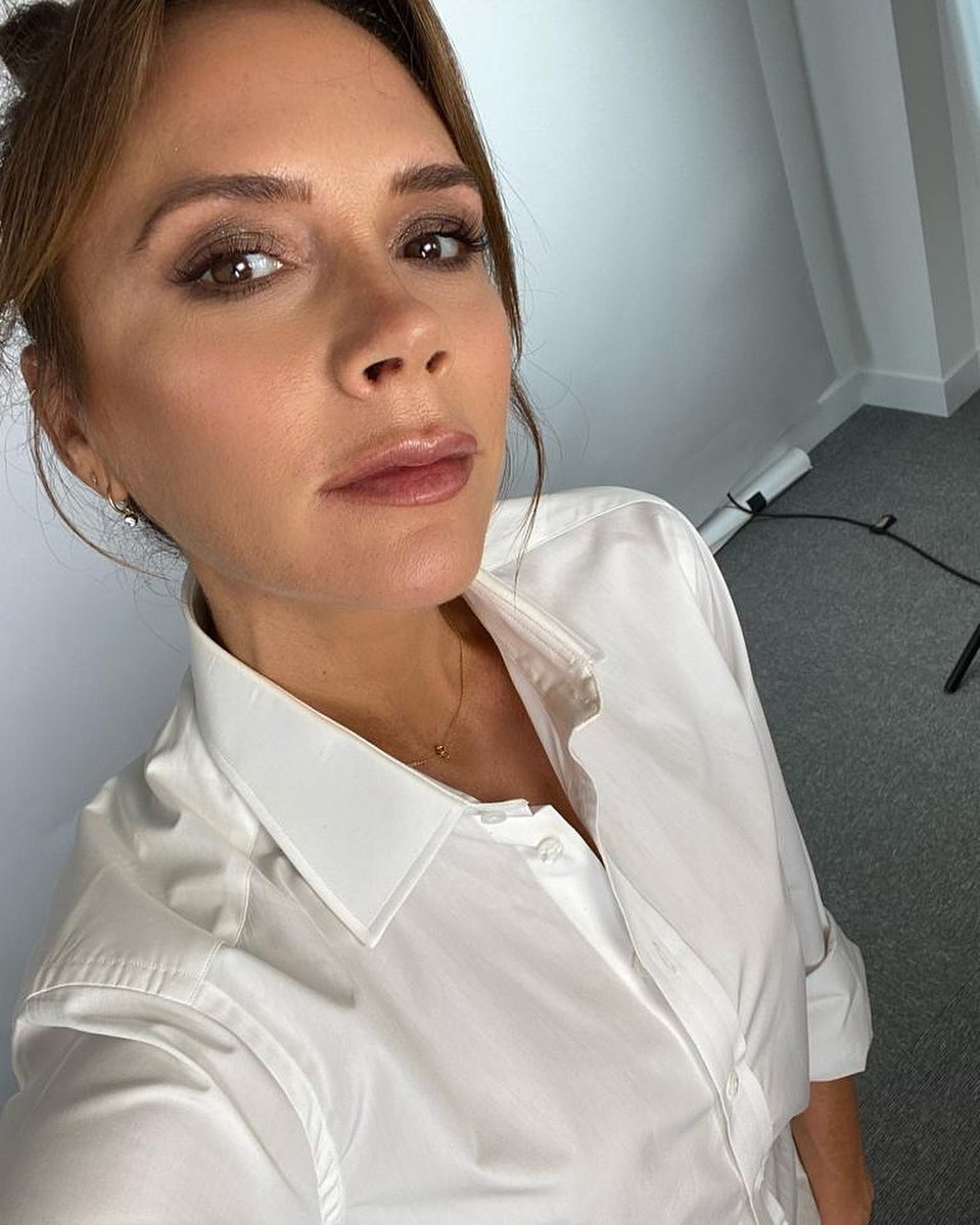 Victoria Beckham Instagram:  filming with  where I play makeup artist!! Xx VB...