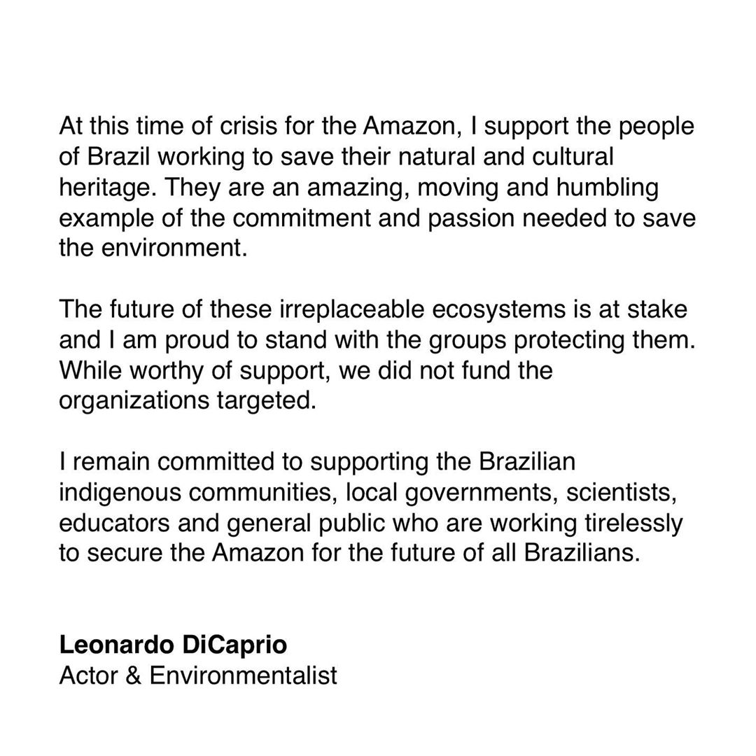 Leonardo DiCaprio Instagram: At this time of crisis for the Amazon, I support the people of Brazil working to...