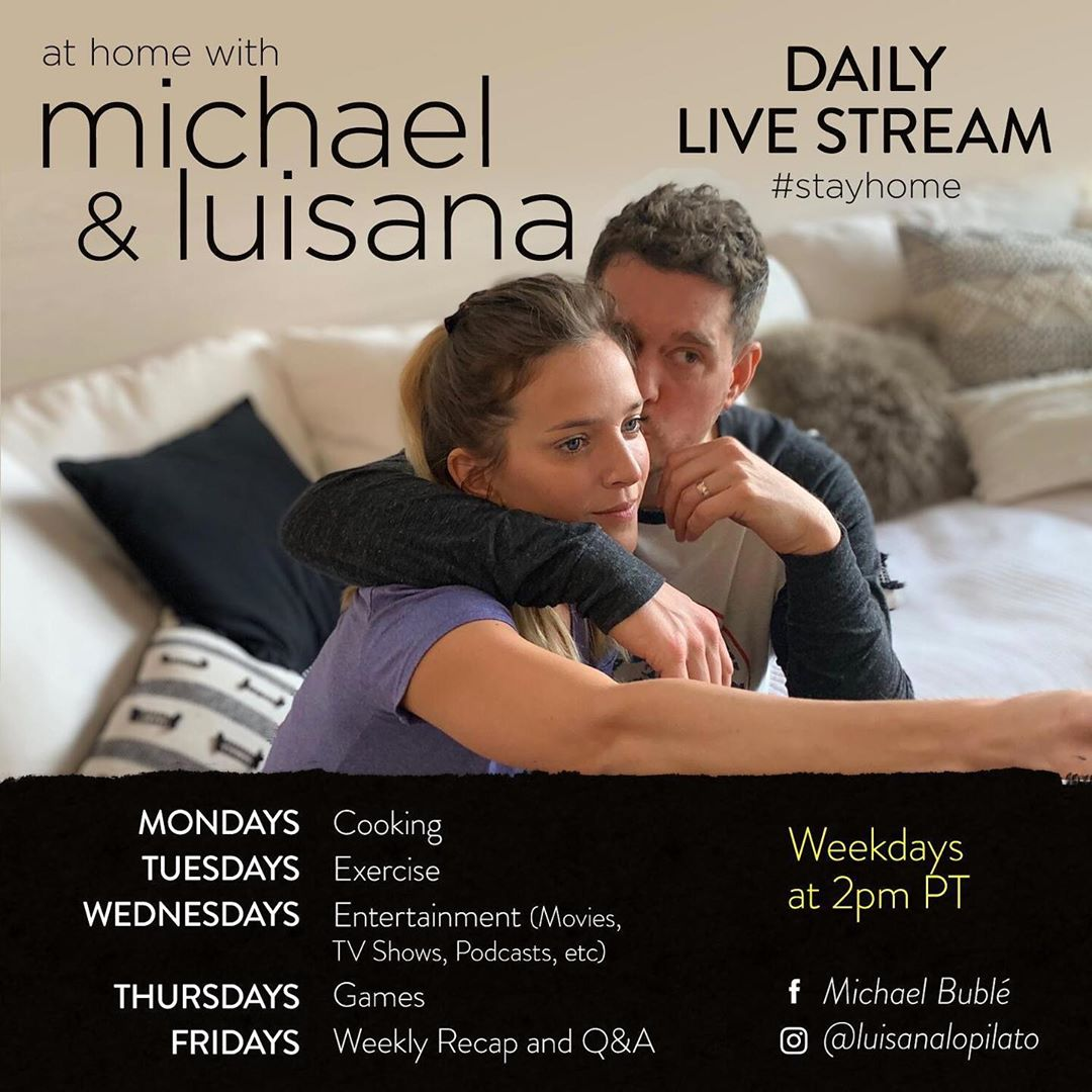 Michael Bublé Instagram: Here's the schedule for my daily live stream with  See you at 2pm PT on my Faceb...