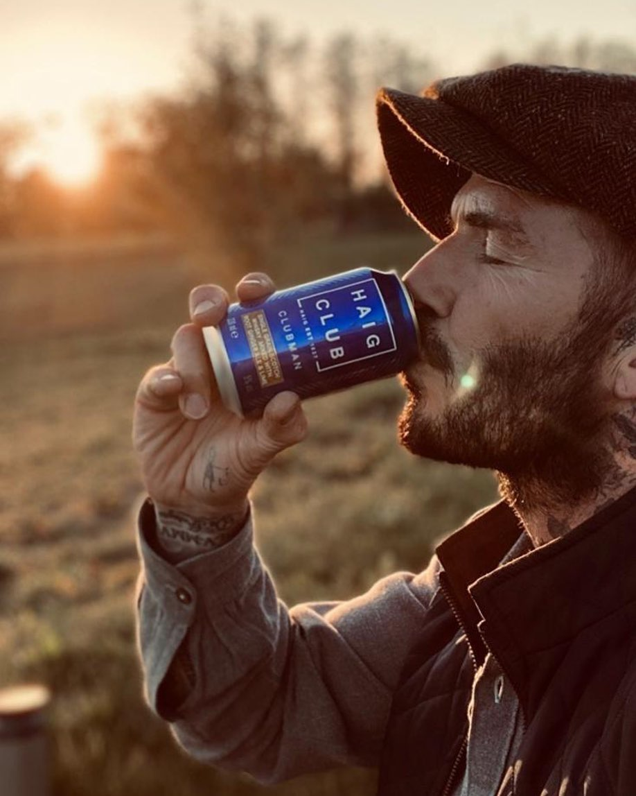 David Beckham Instagram: Enjoying one of the new ready to drink  cans  Have a nice evening everyone ...